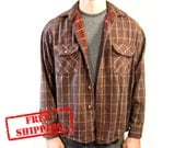FREE SHIPPING - Vintage Brown Flannel Shirt - Men's Size Large - Black Friday Etsy Cyber Monday Etsy - Men's Holiday Gift Sale
