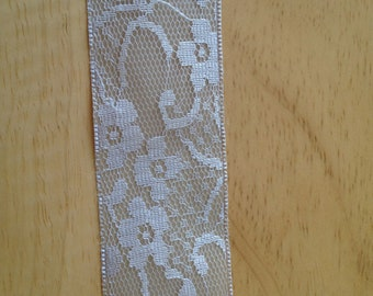 Neutral flower lace ribbon 1 yd