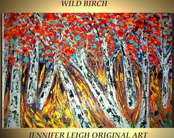 Original Large Abstract Painting Modern Contemporary Canvas Art Birch Trees Orange Gold Blue 36x24 Tree Palette Knife Texture Oil J.LEIGH