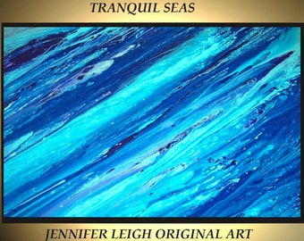 Original Large Abstract Painting Modern Canvas Wall Art Blue Purple Ocean Tranquil Seas 36x24  Acrylic painting Textured  J.LEIGH
