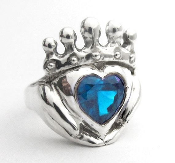 A Promise Heart - Celtic Jewelry Promise Ring - Sterling Silver Claddagh - Personalized Heart Stone - Rickson