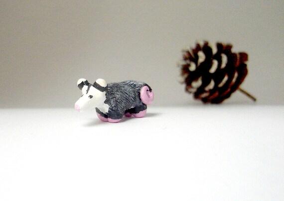 Possum Miniature - Polymer Clay Opossum Totem - Maypop the Possum Totem