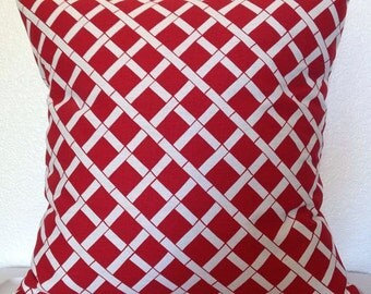 Set of 2 Pillow Covers 18x18 inch -Free Shipping- Cadence in Red and White