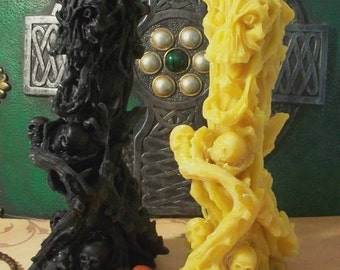 Demon Idol Tree Skull  Devil Candle Beeswax Choice Of Color