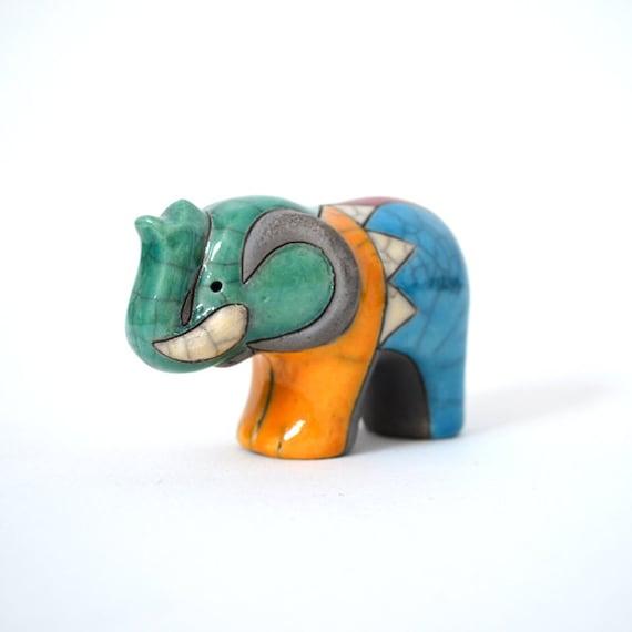 VIntage Raku Elephant Figurine