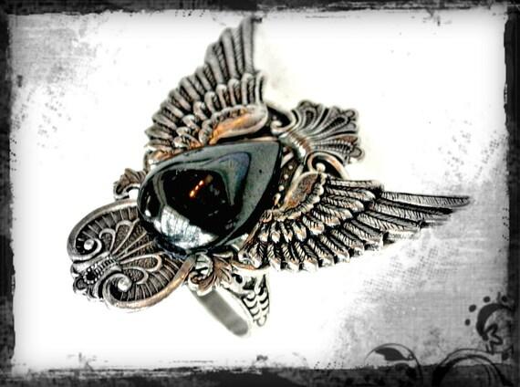Hematite Silver Wings Ring - Men Women Gothic Jewelry - Gothic Dark Fantasy Wings  Ring