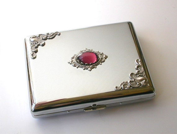 Vintage Style Silver Cigarette Case for  King Size & 100's - Victorian Money Credit Card Case -