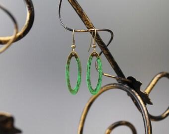 On Sale, brass earrings, rustic, minimalist, green, shabby, dangle earrings, beach, summer, gifts to her