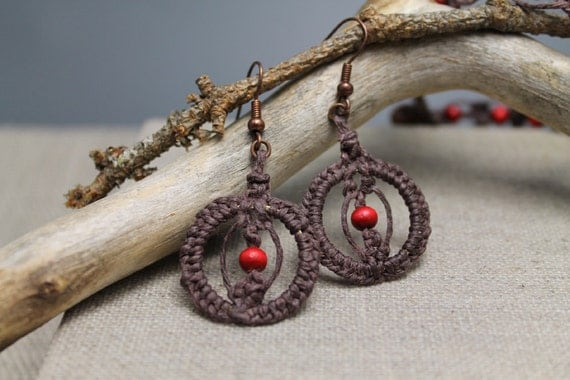 Red Berries, boho dangle earrings, boho, macrame, wooden beads, gifts to her