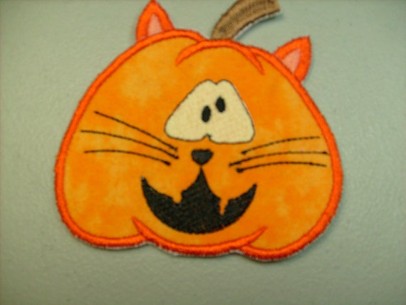 Eyes Glow in the Dark  iron on applique or patch  Jack o lantern