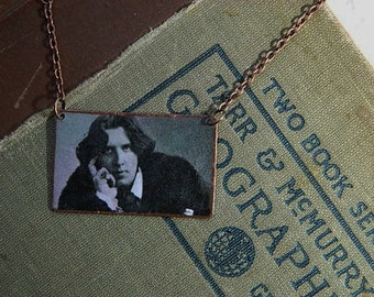 Oscar Wilde necklace mixed media  jewelry Literature Jewelry