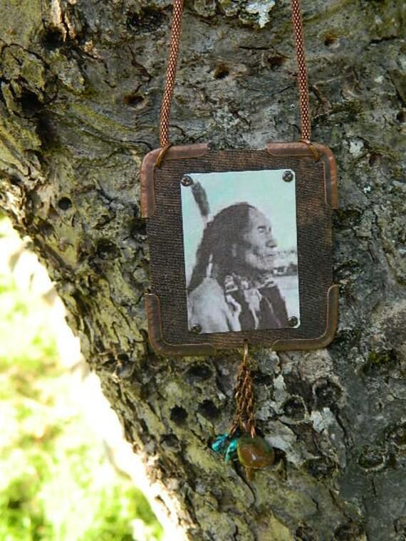Black Elk Native American pendant mixed media jewelry