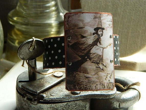 Halloween bold cuff bracelet vintage girl Witch mixed medium jewelry polka dots LE Holidays 2012