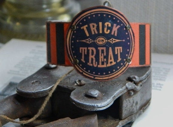 Halloween cuff bracelet Trick or Treat mixed media jewelry costume accessory LE Holidays 2012