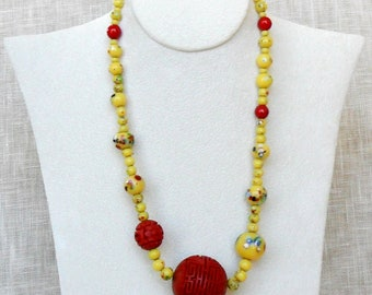 Vintage Japanese Yellow Millefiore Beads with LARGE Cinnabar Bead Necklace c.1920's