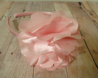 READY TO SHIP Light Pink Satin Hard Headband, Adult Headband, Girls Headband, Women's Headband, Flower Headband