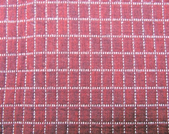 Upholstery fabric in Maroon and white, 52 inches wide. 48 inches long