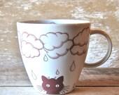Mug Kitty Cat Rain Clouds 16 oz