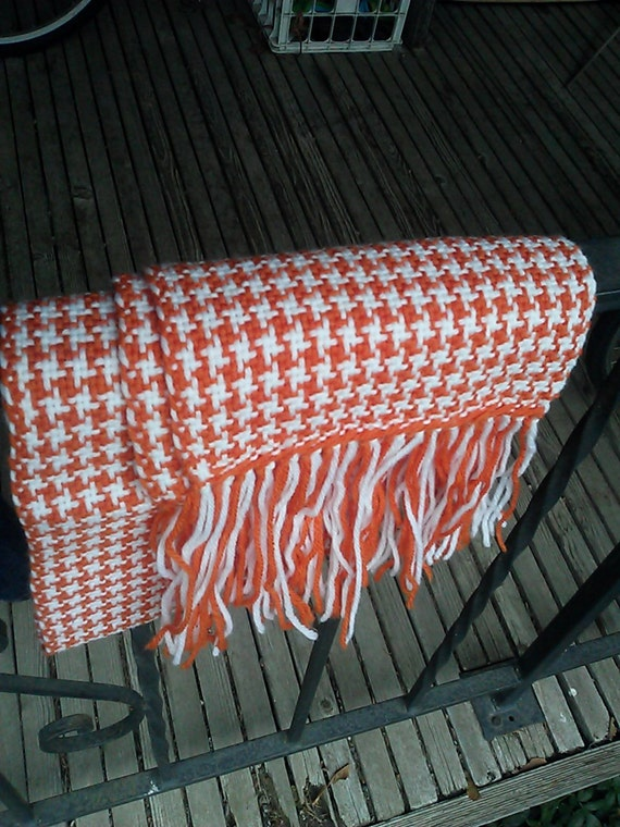 Orange and white houndstooth 100% wool handwoven scarf