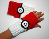 Geeky Gauntlets. Pokeball Inspired Wristwarmers. Super Gamer Series. Pokemon Fingerless Gloves. Nintendo Video Comic Anime Accessory Cosplay