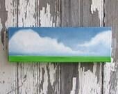 Original oil painting cloud landscape wall art green grass summer art abstract home decor - Latitude series four