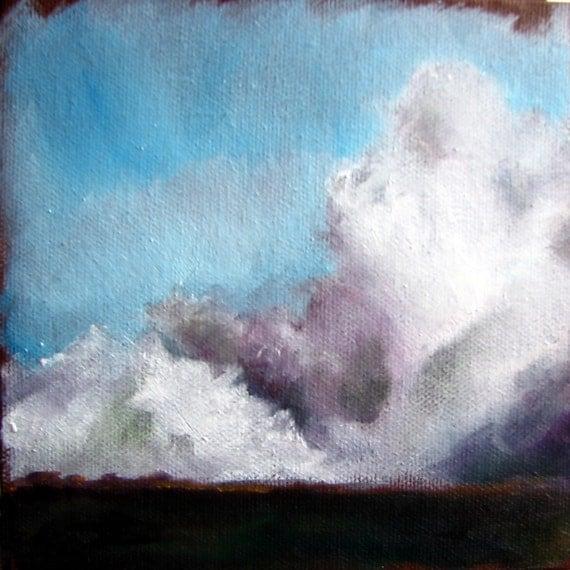 Thunderstorm big sky landscape original oil painting - Stormscape series one