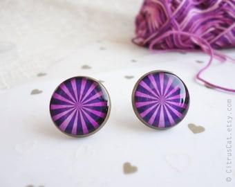 Purple stripes stud earrings