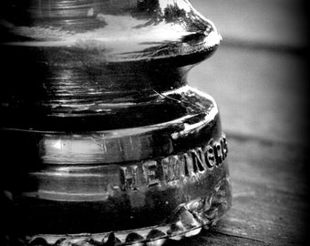 Fine Art Photograph of Antique Glass Insulator Black and White Photograph