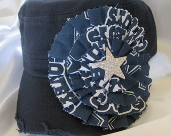 SALE...Navy Cadet Military Distressed Hat with a Dallas Cowboys Colored Fabric Flower and a Gorgeous Rhinestone Star Accent