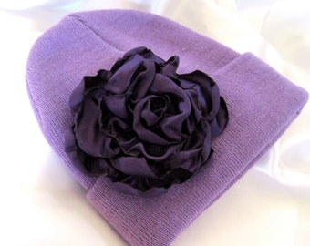 Lavender Purple YOUTH Beanie  with a Beautiful Deep Purple Open Rose