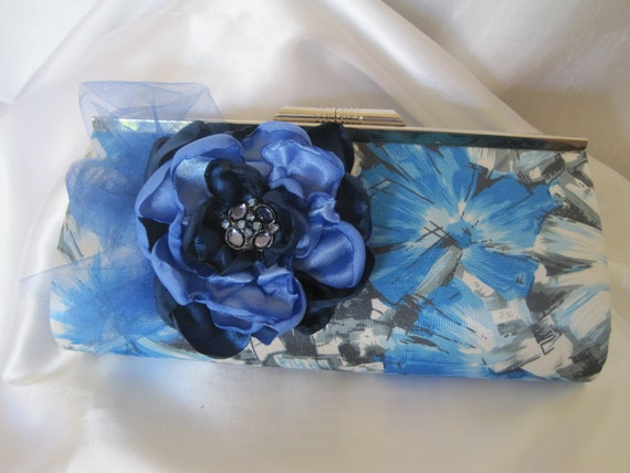 Cobalt Blue and Black Flower Print  Satin Clutch with a Multi Blue Fabric Flower  and  Cobalt Blue Rhinestone Accent...Sale