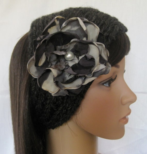 Black Ear Warmer Headband Headwrap Hand Knit with Removable Variegated Flower with Pearl Accent