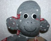 LargeGrey, red and white Flowery Sock Monkey, toy, doll - personalised with hat