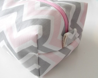 Grey and Pink Chevron Make up Bag  - Cosmetic Pouch -  Lunch Bag - Wet Bag -Waterproof Bag