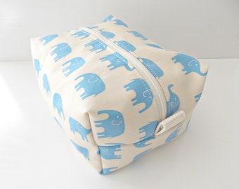 Blue Elephant Bag - Cosmetic Pouch -  Lunch Bag - Wet Bag -Waterproof Bag