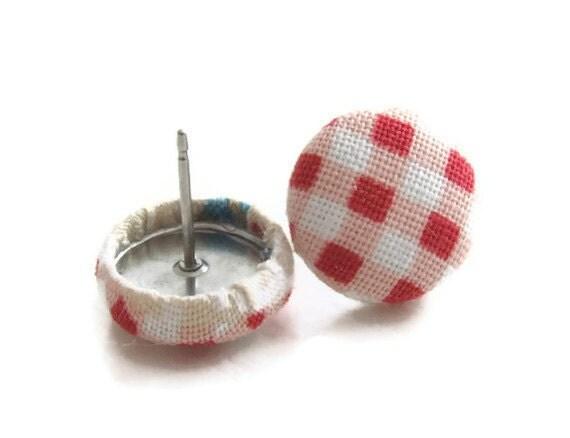 Fabric Earrings Small Earrings Button Earrings Cute Jewelry