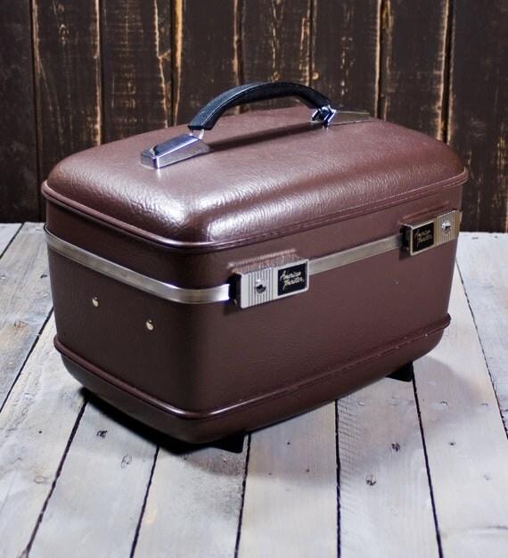 Train Case, Brown , Vintage Train case, American Tourister
