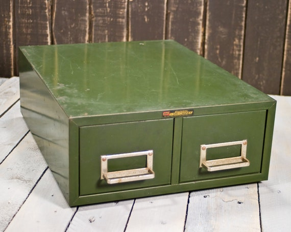 Vintage File Box, Card Catalog File, Industrial Cabinet