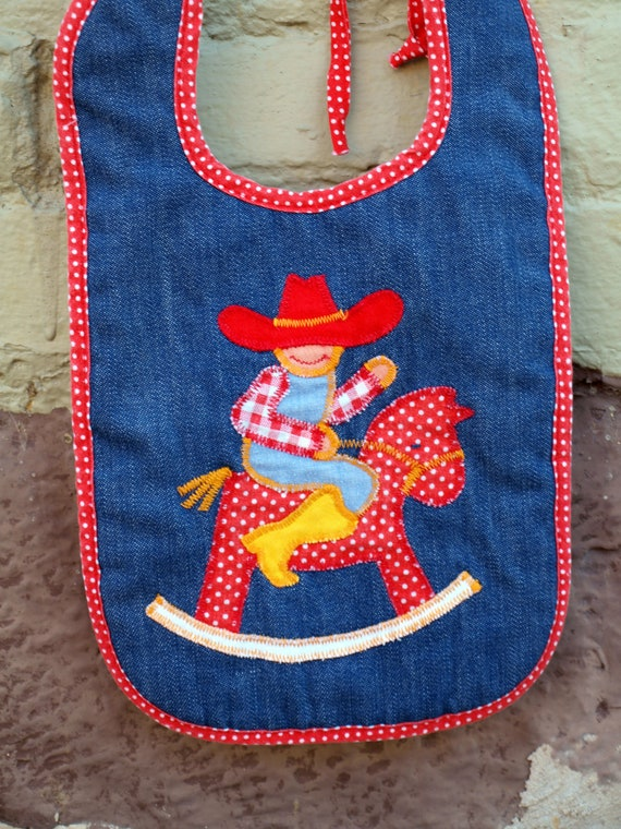 vintage denim bib with cowboy and hobby rocking horse applique