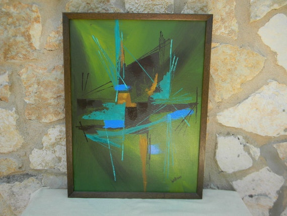 Vintage Mid Century Modern Abstract Painting Williams Framed Green Blue