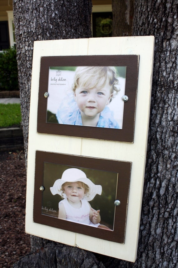 items similar to double 5x7 picture frame distressed picture frame ivory frames college frame on etsy - Double 5x7 Picture Frame