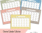 """Printable Calendar Collection in Chevron - 5 PDF Digital Files (8.5"""" x 11"""") - Available as an Instant Download"""