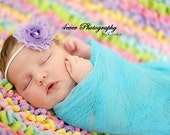 Aqua Blue Newborn Cheesecloth Wrap Photography Prop Hand Dyed 3 ft x 6 ft