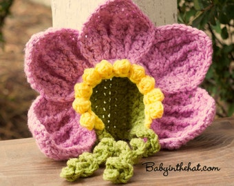 Newborn Flower Petal Bonnet Photo Prop Crochet Hat
