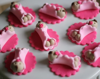 Whimsical Girl Baby Shower Fondant Toppers - Perfect for Cookies, Cupcakes and Other Edible Treats