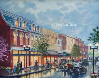 "Main Street Giclee, 14X18"" Size, Unframed, Raymon Troup"