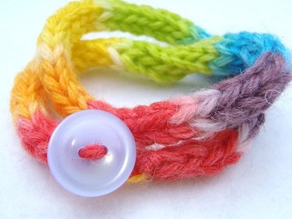 Sale rainbow jewelry, yarn bracelet with button