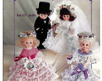 "Crocheted Wedding Party 13"" Doll Crochet Pattern American School of Needlework 1065"