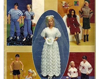 Vintage His & Her Knit Barbie Fashion Doll Clothes Crochet Pattern Book 341 Leisure Arts