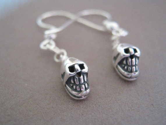 Mr Skull Head Sterling Silver Skull Charm Earrings